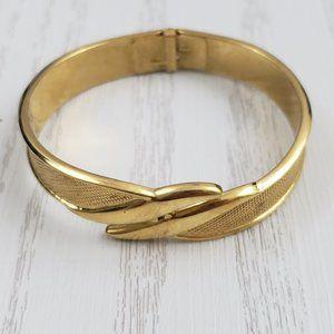 Vintage Monet Gold Tone Clamper Mesh Bracelet Cuff